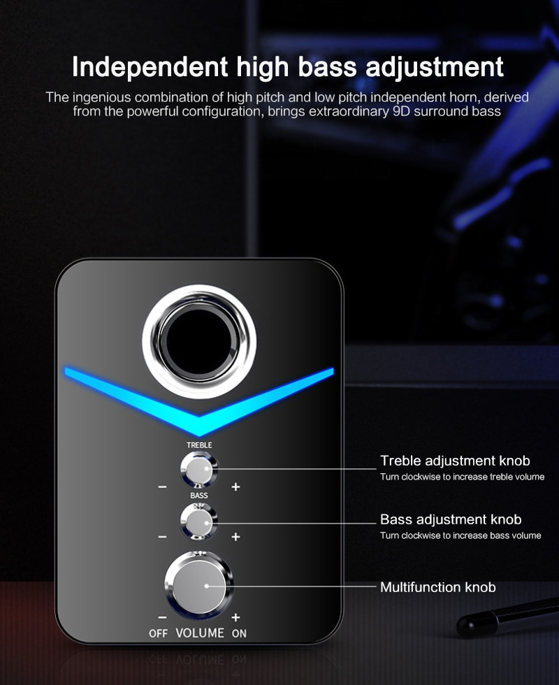 Mini Computer 2.1 LED Speaker USB Wired 3D Stereo Sound Surround Loudspeaker Bluetooth Loudspeakers for Phone PC Laptop Notebook enlarge