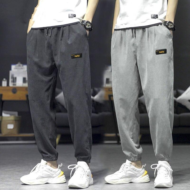 Мужские штаны-шаровары, широкие штаны, свободные спортивные мужские брюки прямые брюки из Харлана с эластичной резинкой на талии Формально...