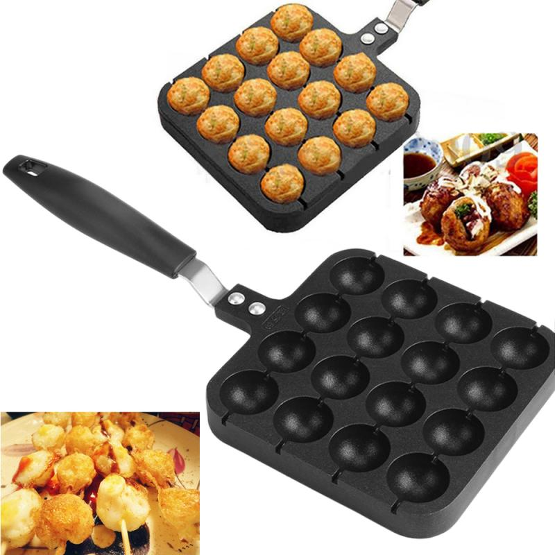 Sartén Takoyaki de aleación de aluminio con 16 cavidades, plato de cocina, almohadillas redondas para tortitas, Bola de pulpo, utensilios de cocina para hornear