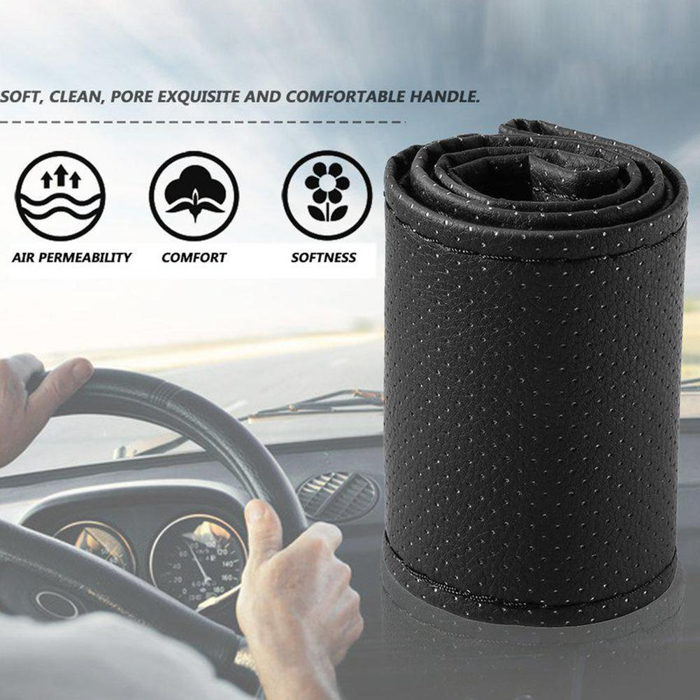 Black 37-38cm DIY Car-Styling Auto PU Leather Car Steering accessories and Needles Interior Covers W