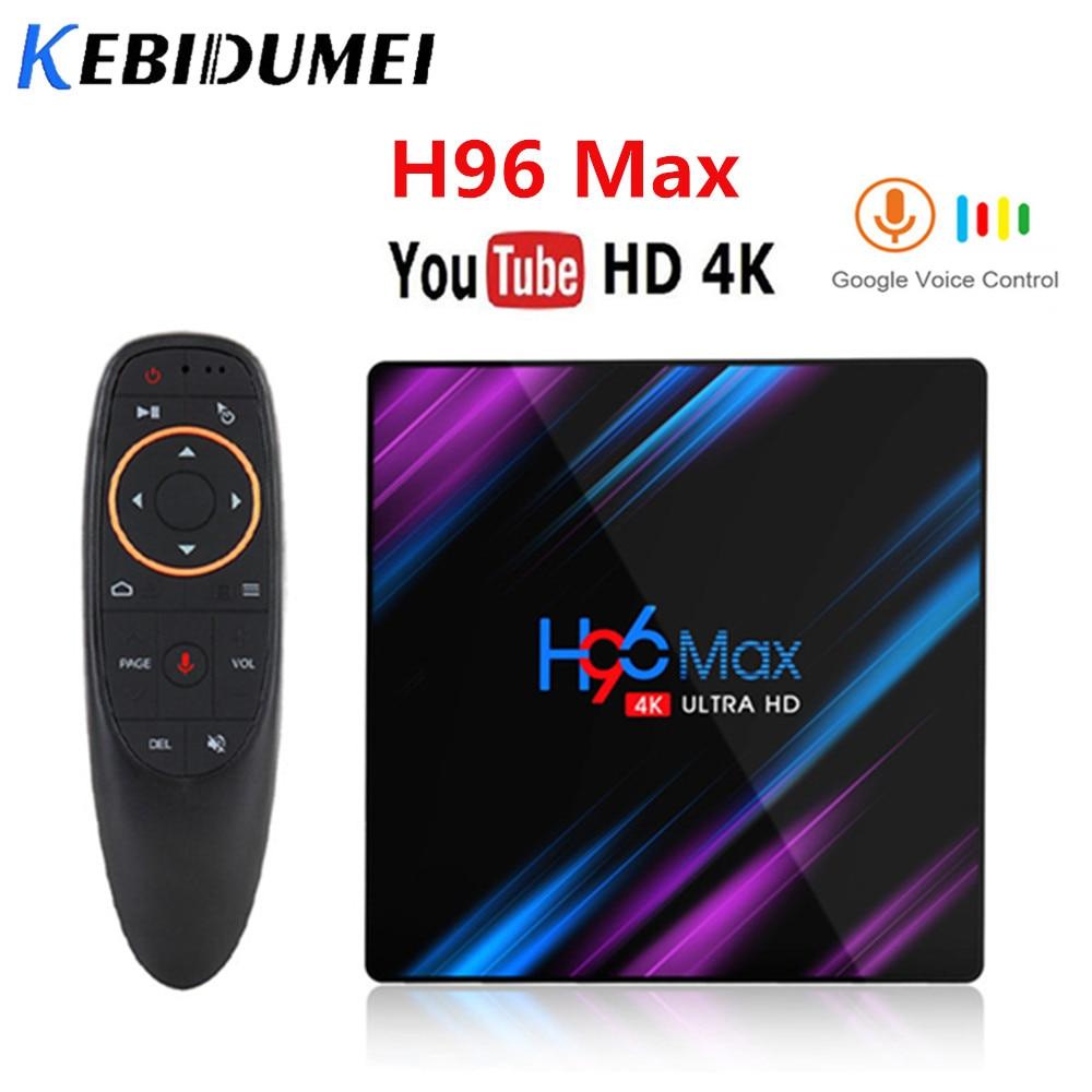 Kebidumei H96 MAX Android 9,0 TV Box 4GB RAM 64GB H.265 Rockchip RK3318 4K asistente de voz de Streaming Media Player 2GB16GB