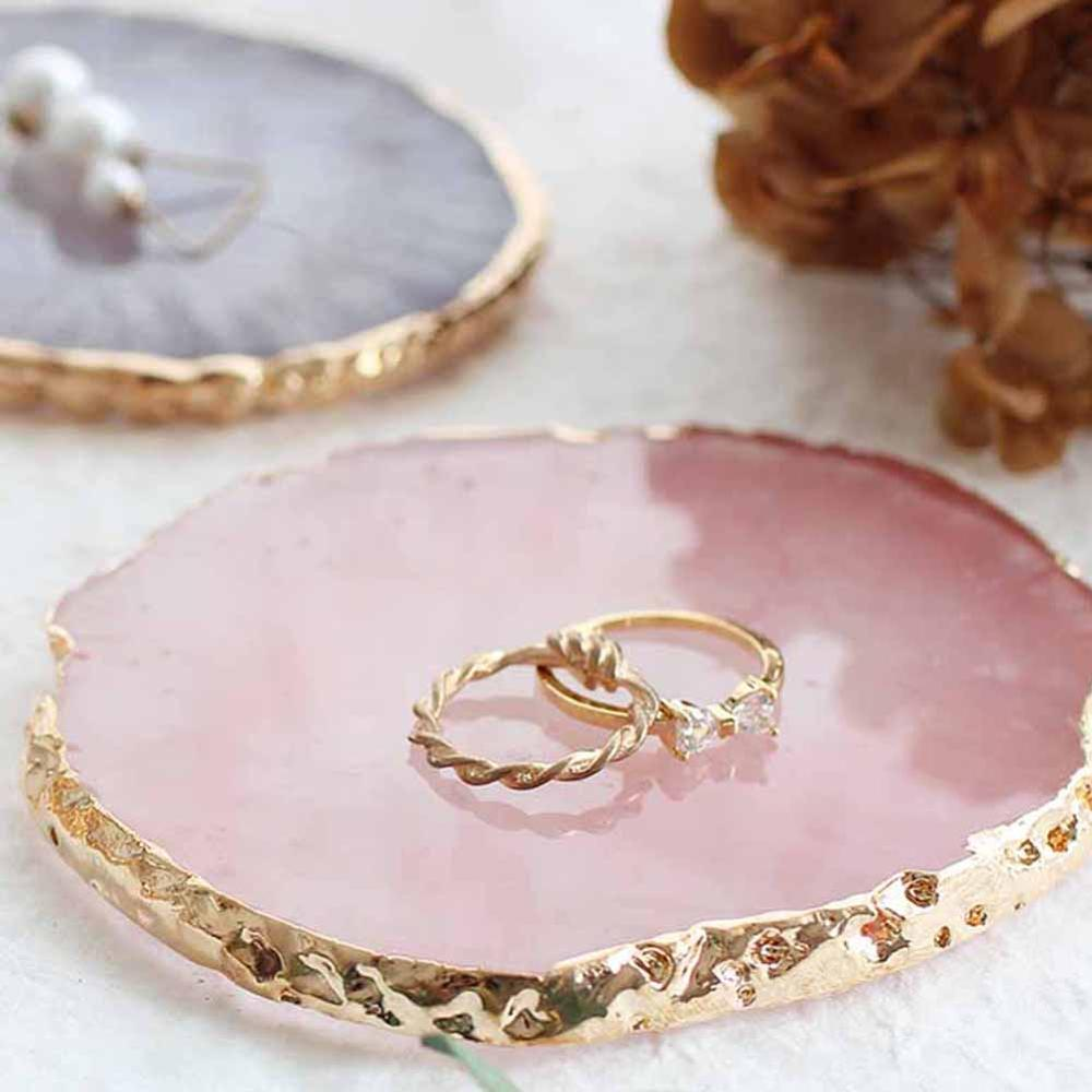 שרף תכשיטי תצוגת צלחת שרשרת טבעת עגילי תצוגת צבועה צבעים מגש תכשיטי בעל מארגן קישוט תכשיטים