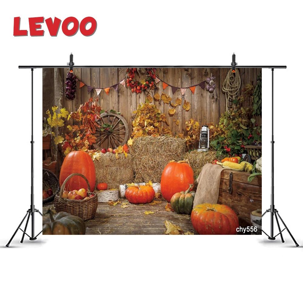 Fondo de fotografía LEVOO, decoración de madera, cosecha de otoño, heno, Fondo de calabazas, fotomatón, fotomatón, Farbic