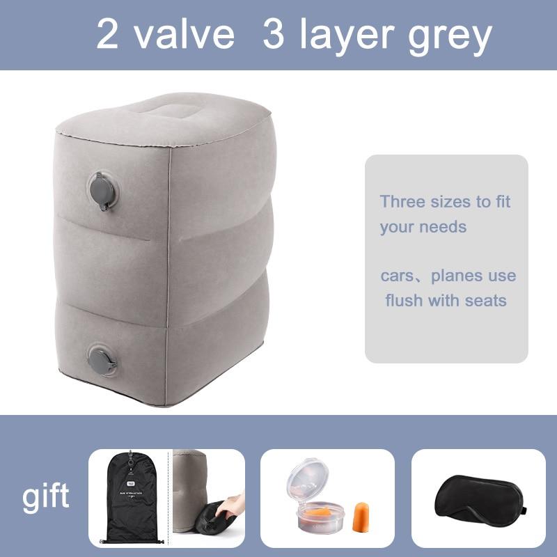 Travelsky, taburete inflable, altura ajustable, Flocado de vuelo, taburete de PVC, taburete de 2 válvulas, almohada de viaje inflable para enviar bolsa de aire