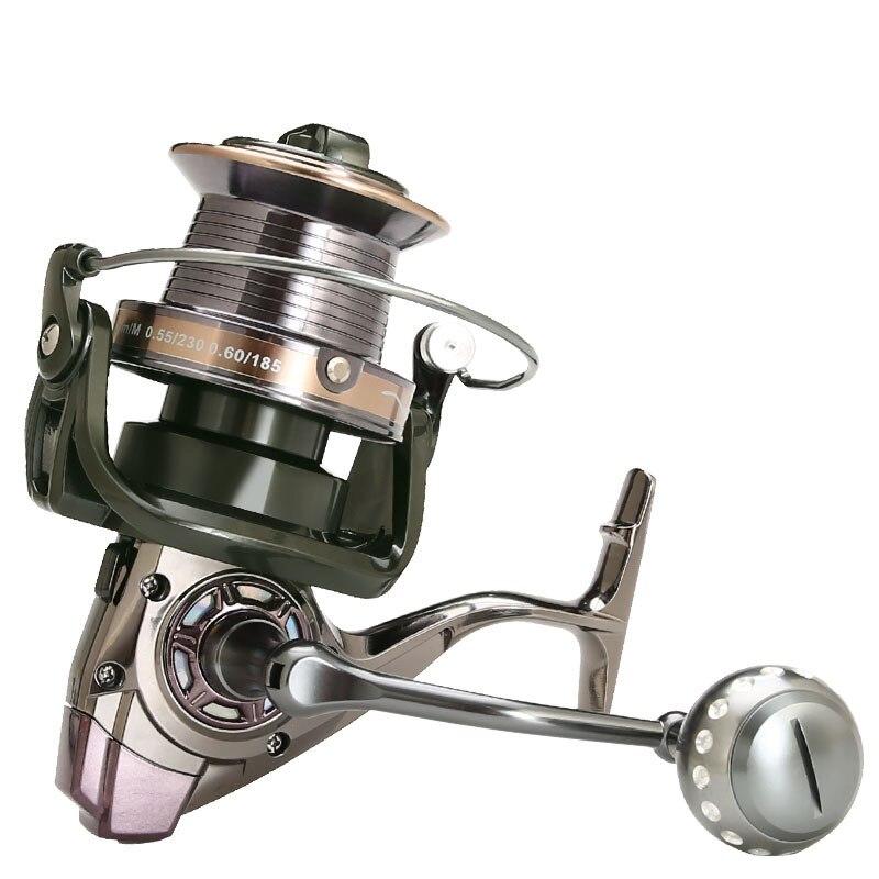 Moulinet Spinning pour surf casting, pour pêche en mer, avec bobine entièrement en métal, frein de 30kg, au poisson-chat