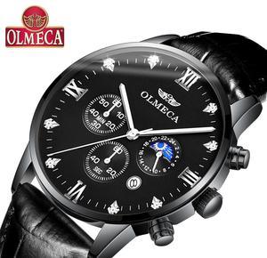 OLMECA Men's Watch Luxury Fashion Sports Watches 3ATM Waterproof Clock Chronograph Wristwatch Relogio Masculino
