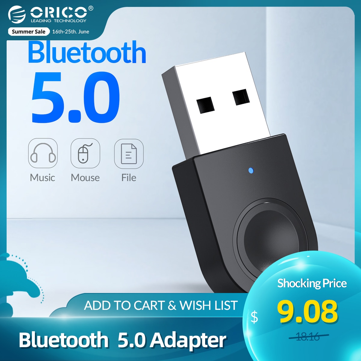 ORICO USB Bluetooth Dongle 5.0 Adapter Bluetooth Music Audio Receiver Transmitter Support Windows 7/8/10 for PC Laptop Speaker