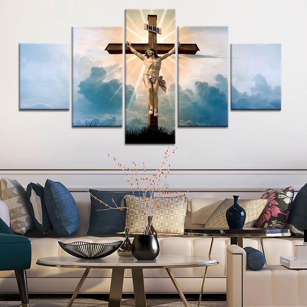 Toiles, toiles, imprimés, Art mural   5 pièces, décor HD, images chrétiennes de jésus, affiche murale