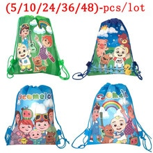 Cocomelon Family Theme Bag For Kids Girl School Bag Baby Shower Birthday Drawstring Backpack Non-Wov