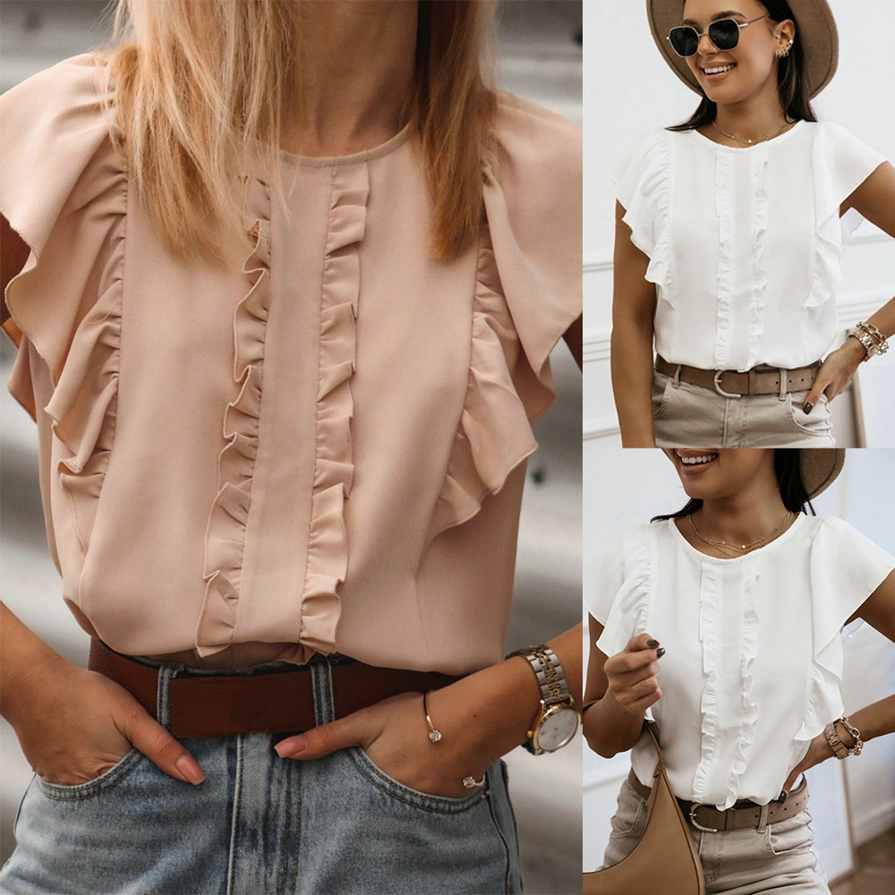 Women Ruffles Blouses Summer Sweet O-Neck Ruffle Short Sleeve Solid Pullover Tops Office Ladies Casual Back Buttons Loose Shirts