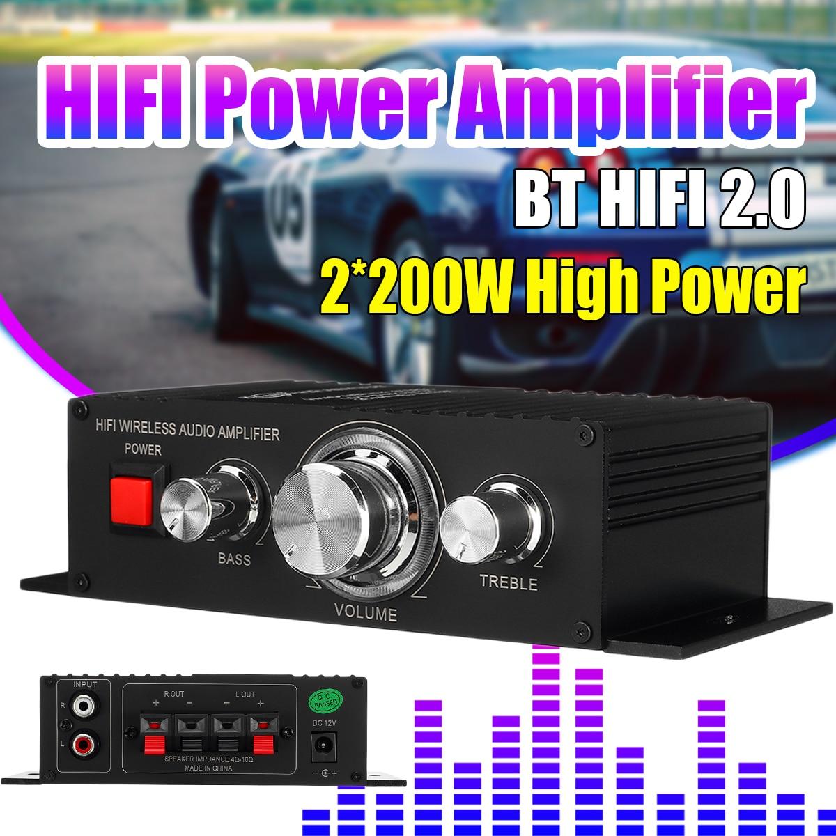 12V 2*200W Stereo Hifi Car Home Subwoofer Amplifier Amp Sound Speaker bluetooth 4.2+EDR Audio LED Design
