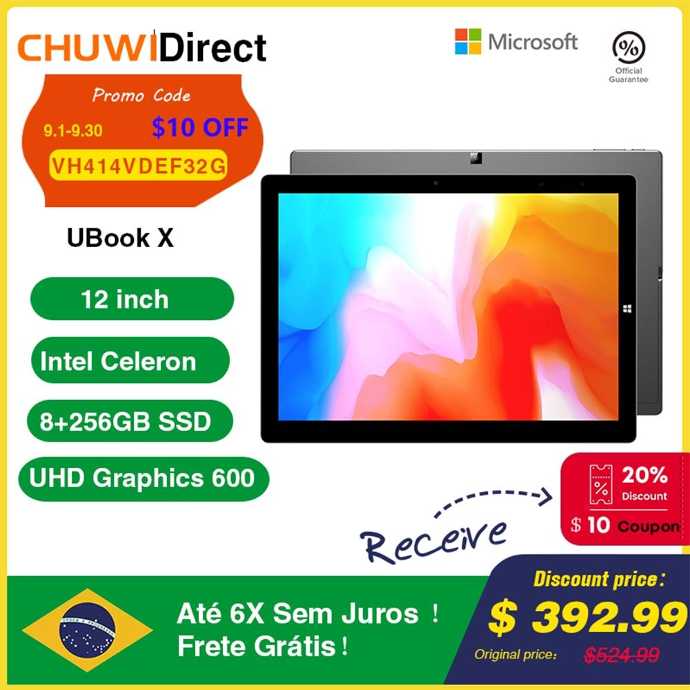CHUWI UBook X 12inch Windows 10 Tablet 2160x1440 Intel Celeron N4100 Quad Core 8GB RAM 256GB ROM Tablet PC Dual Wifi Type-C