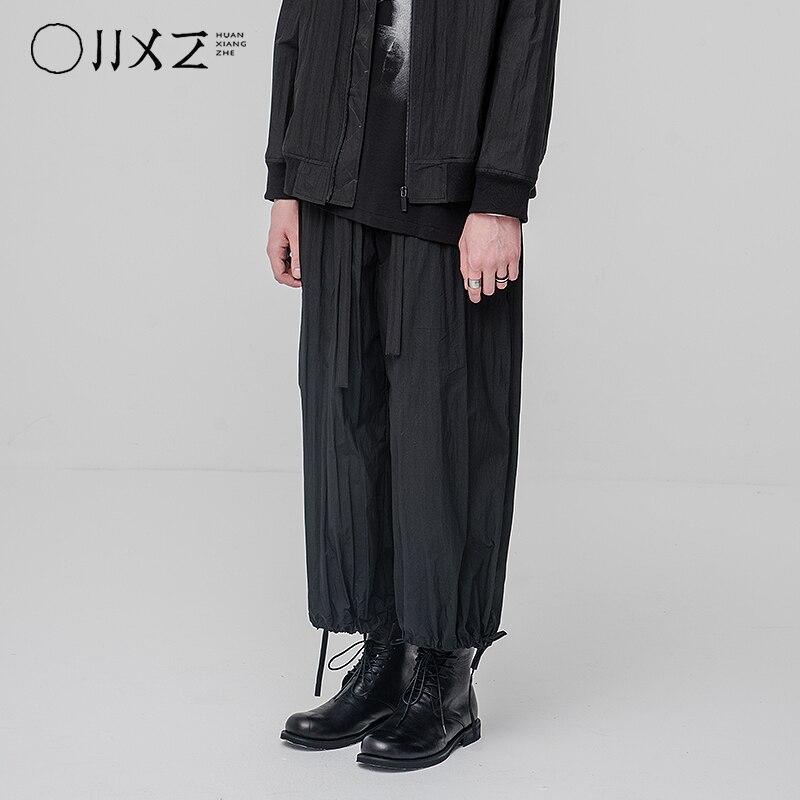 [HUANXIANGZHE] 2020 Summer dark style original design Elastic waist pants ankle-length pants Mens Loose No gender