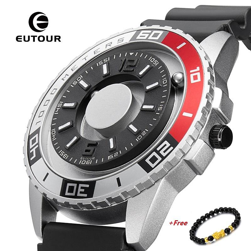 EUTOUR جديد المغناطيسي ساعة الرجال الفاخرة حزام ساعة سيليكون مصمم المغناطيس ساعات الرجال عادية كوارتز رجالي ساعة اليد دروبشيبينغ