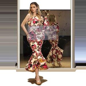 Glittery One Shoulder Mermaid Evening Dress Sequins Ankle-Length Sash Prom Dress Long Sleeves Vestido de festa 2020 Dubai
