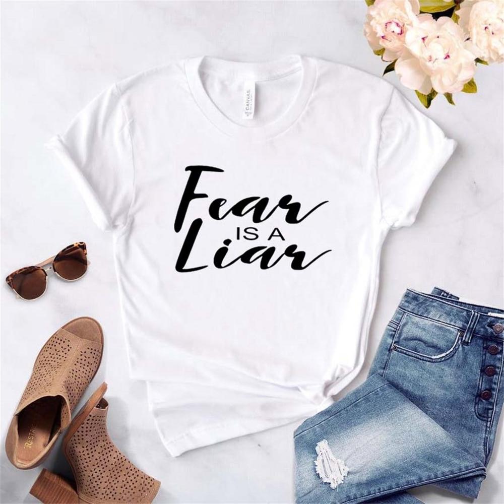 Women T Shirt Fear is a Liar Letters Print Tshirt Women Short Sleeve O Neck T-shirt Ladies Causal Tee Shirt Tops TX5696 недорого