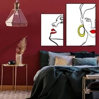 sexy red lips poster abstract lady line printing nordic canvas painting wall art figure pictures for livingroom home decoration