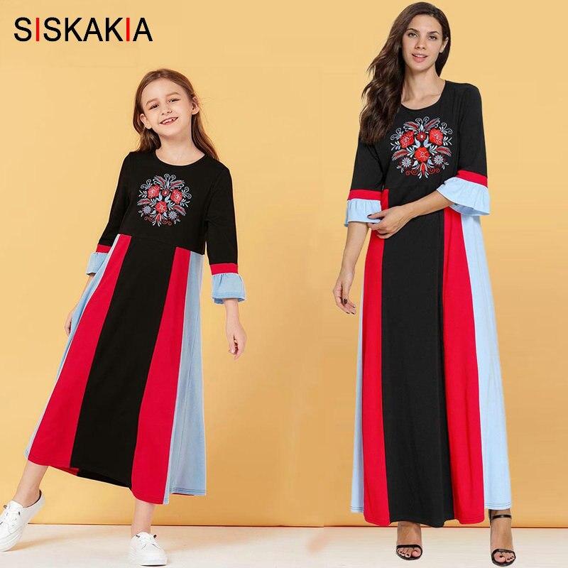 Siskakia mamãe e filha vestido longo família combinando roupas mãe grandes meninas maxi vestidos de algodão cor bloco bordado floral