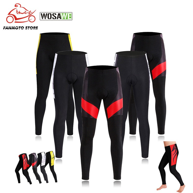 WOSAWE Lycra Bicycle Motorcycle Pants Breathable Gel Padded Cycling Tights Leggings Cycle Riding Trousers MTB Mountain Bike Pant
