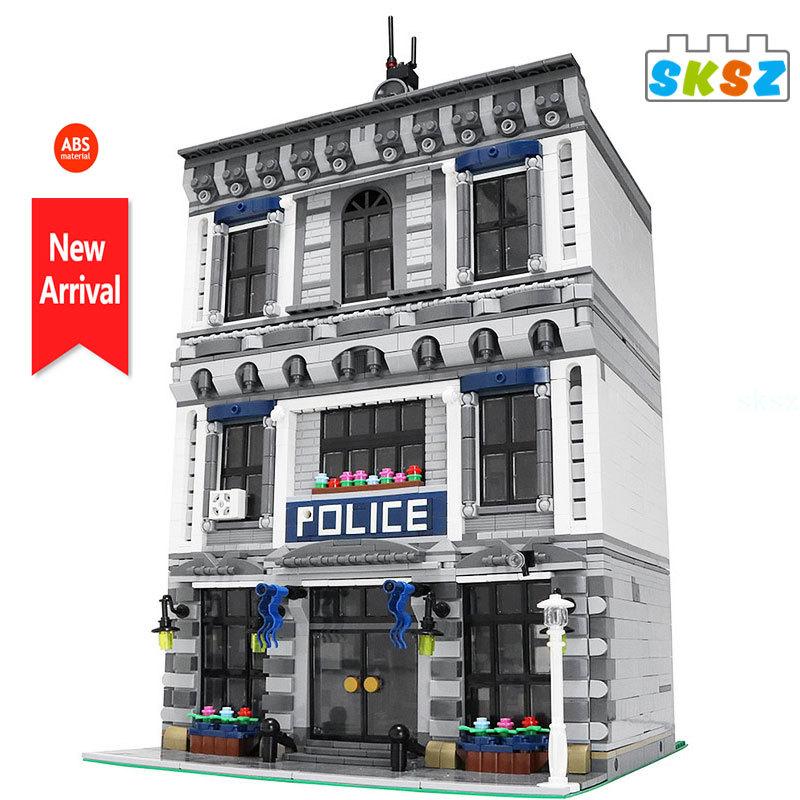 military city the way building blocks obstacle block model moc compatible city street view ww2 scenes diy christmas gift toys MOC NEW City Street Police Station Sets Model Creative Architecture Building Blocks Compatible Bricks Office Kits Kids Toys Gift