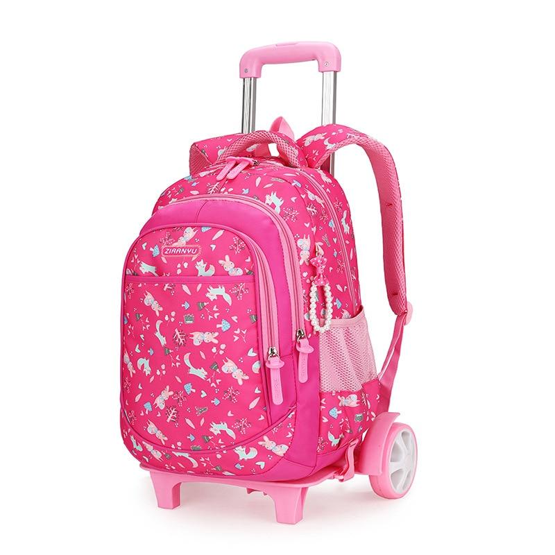 HOT Student School bag Rolling Backpack kids Trolley bag for girl school backpack wheeled bag child waterproof backpack wheels