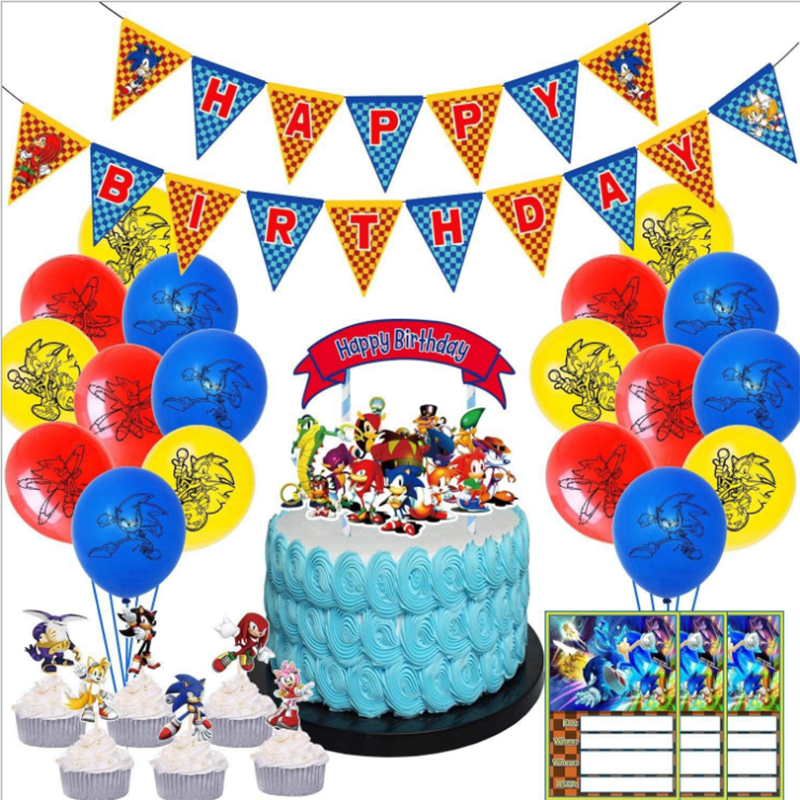Sonic o hedgehog fontes de festa copo de papel placas toalha de mesa sonic super herói folha balão conjunto crianças aniversário festa dec