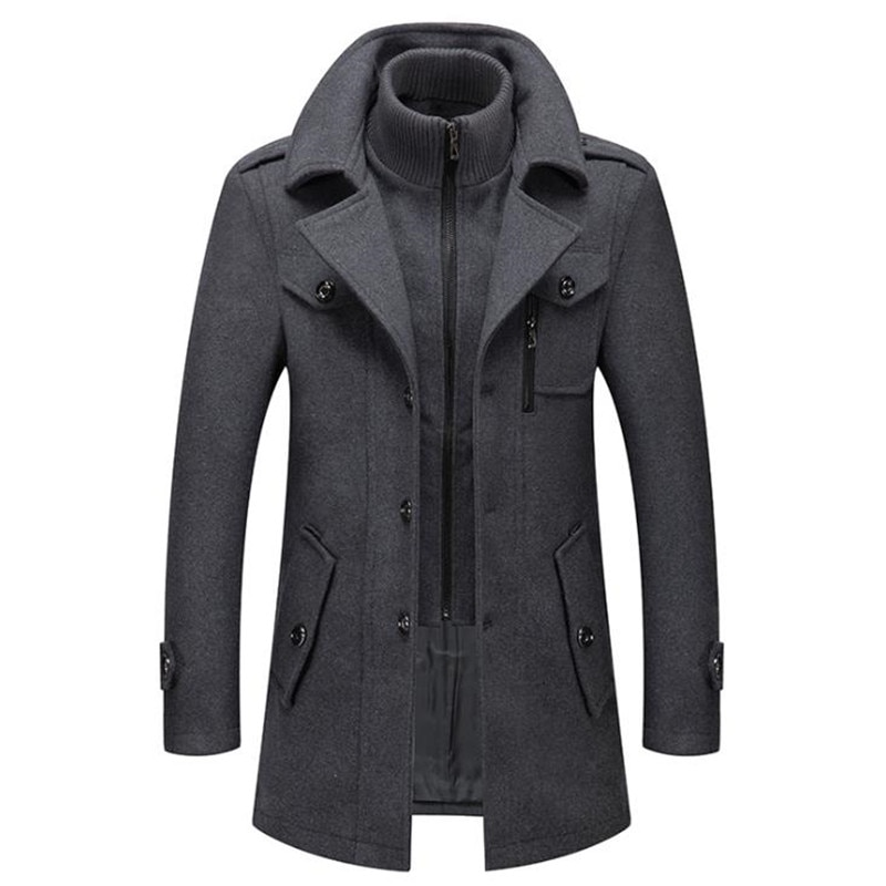Men's Wool Jacket Winter Autumn Mens Long Windproof Wool Coat Casual Thick Slim Fit Jacket Male Over