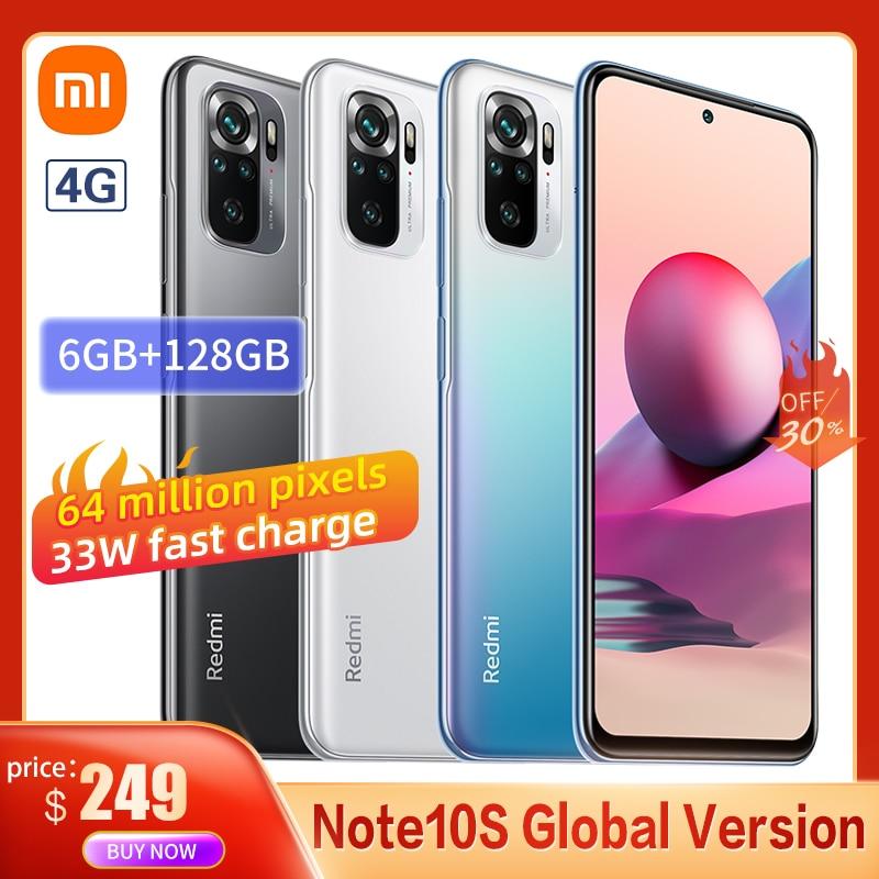 Global Version Xiaomi Redmi Note 10S Smartphone 6GB 64GB 64MP Quad Camera Helio G95 AMOLED DotDisplay 33W Fast Charge With NFC
