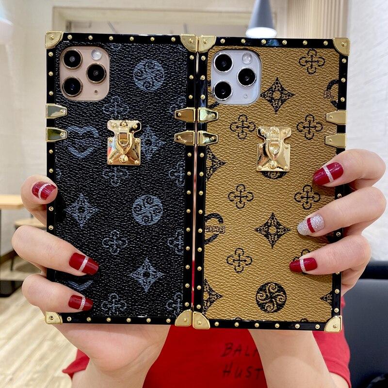 Luxo geométrico quadrado tpu silicone caso do telefone móvel para o iphone 11 pro xs max xr x se2 7 8 plus retro xadrez couro capa traseira