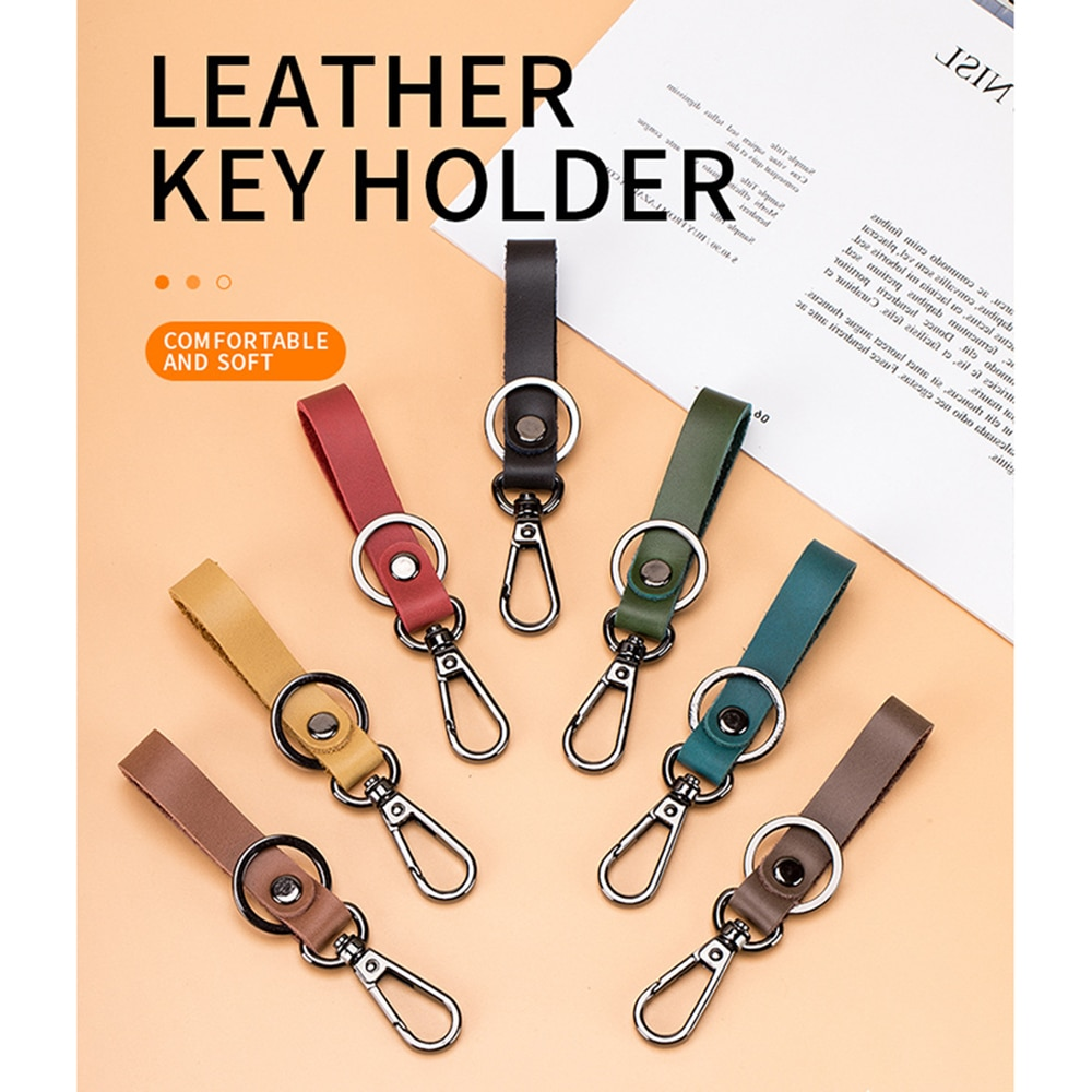 Для мужчин кулон держатель Портативный ключей авто ключей Органайзер из натуральной коровьей кожи ретро-брелок автомобильные аксессуары