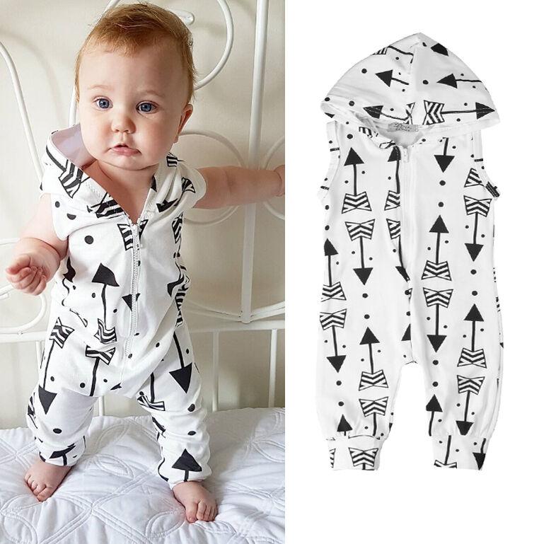 New 0-2Y Baby Boys Hooded Girls Romper Newborn Vest Kids Jumpsuit Kid Bodysuit Girl Sleeve Zipper Clothes Boy Outfit Sets