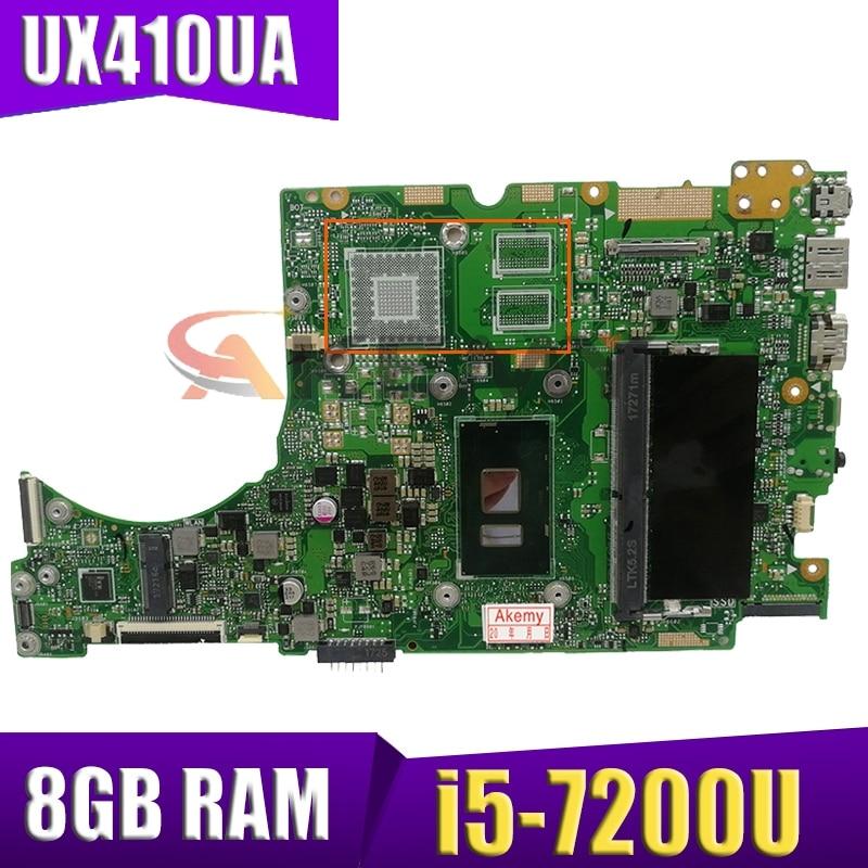 Akemy UX410UA اللوحة الأم مع وحدة المعالجة المركزية i5-7200U 8GB RAM ل ASUS UX410UQ UX410UQK UX410UV UX410U RX410U Laotop اللوحة الرئيسية