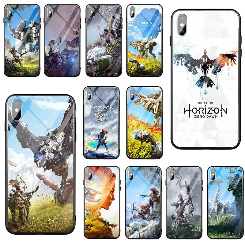 Horizonte cero amanecer templado Glasst teléfono móvil casos para iPhone 5 5S SE 2020 X XR XS 11 Pro Max 10 8 7 Plus 6 6S Plus bolsas