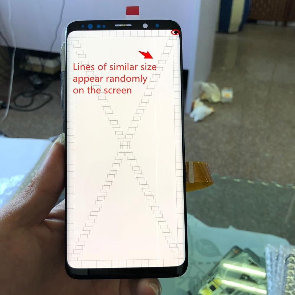 الأصلي s9 زائد مع الإطار لسامسونج غالاكسي S9 G960 G960F S9Plus G965 G965F LCD شاشة تعمل باللمس مع خط + نقطة التجمع