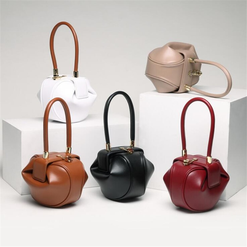 LESENUO Women Simple Dumplings Corium Bag Fashion Retro Advanced Design Luxury Brands Wallet Handbag Wedding Gift