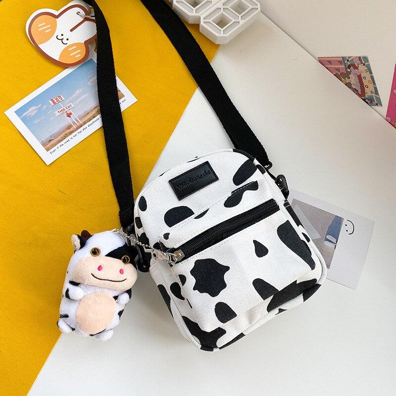 Hot Sale Cow Print Small Square Bag Canvas Crossbody Bag For Women Leisure Messenger Bag Women's Shoulder Bag Mobile Phone Purse