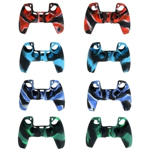 Camouflage Handle Sleeve Silicone Case Dustproof Skin Protective Cover Anti-Slip for S-ony PlayStation PS5 Controller