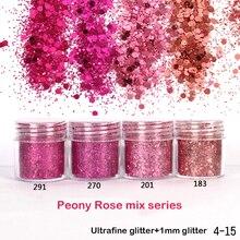 1 коробка, блестящая розовая пудра для ногтей с блестками пион, пудра для ногтей с блестками, Новое поступление, полулак для маникюра, сделай ...