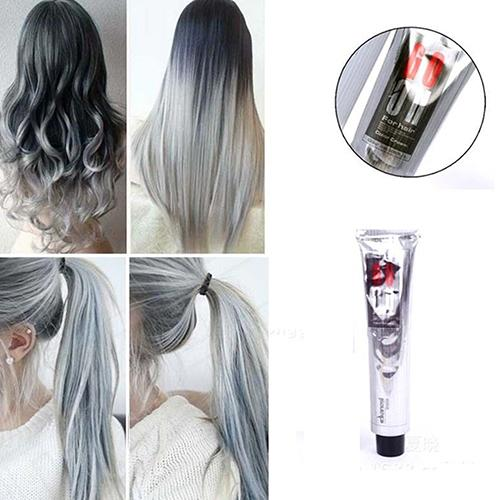 New 1Pc 100Ml Fashion Smoky Gray Punk Style Light Gray Silver Color Nature Permanent Super Hair Dye