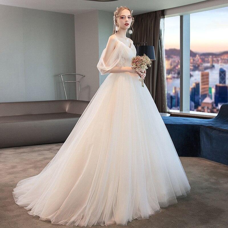فستان زفاف برقبة على شكل V ، مع قطار ، بسيط ، أحزمة سباغيتي ، مقاسات كبيرة ، جديد