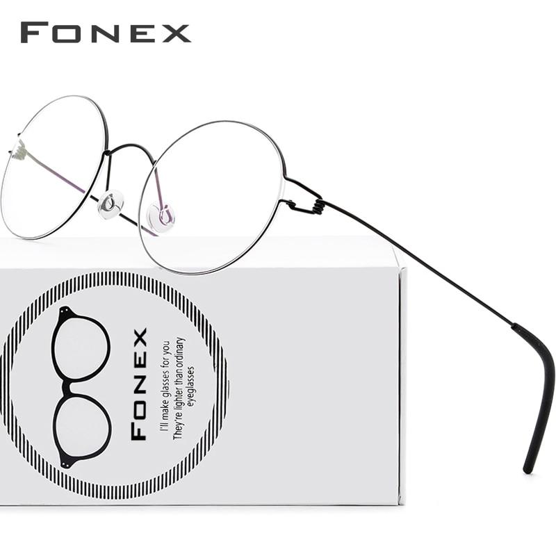 FONEX Screwless Eyewear Prescription Eyeglasses Frame Women Round Myopia Optical Denmark Korean Glas