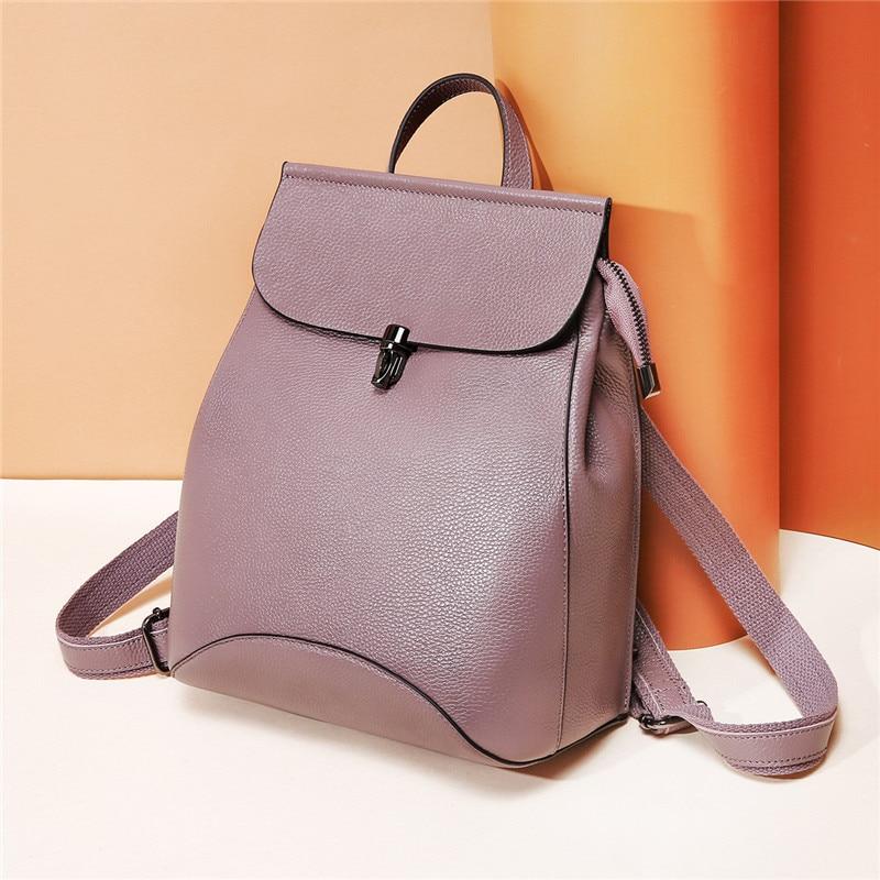 Women Shoulder Bag Backpack Genuine Leather High Quality Leather Backpack Spliced Casual Solid Fashion Female Flap Backpack Bag