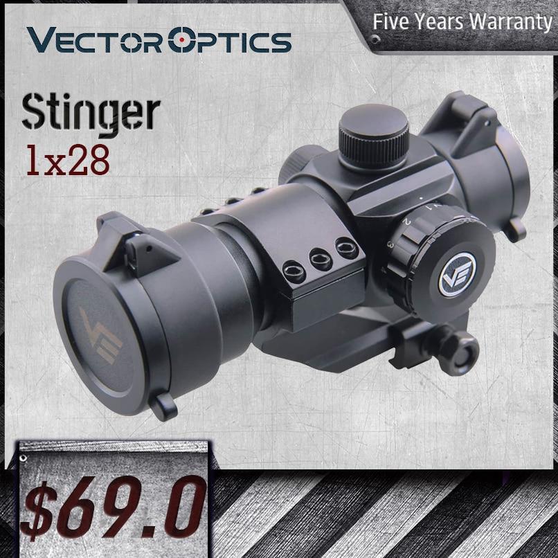 Vector Optics Stinger 1x28 Red Dot Sight 5MOA Red/Green Dot Size с консолью Weaver Mount Flip-up Cap Fit AR15 .308 7,62