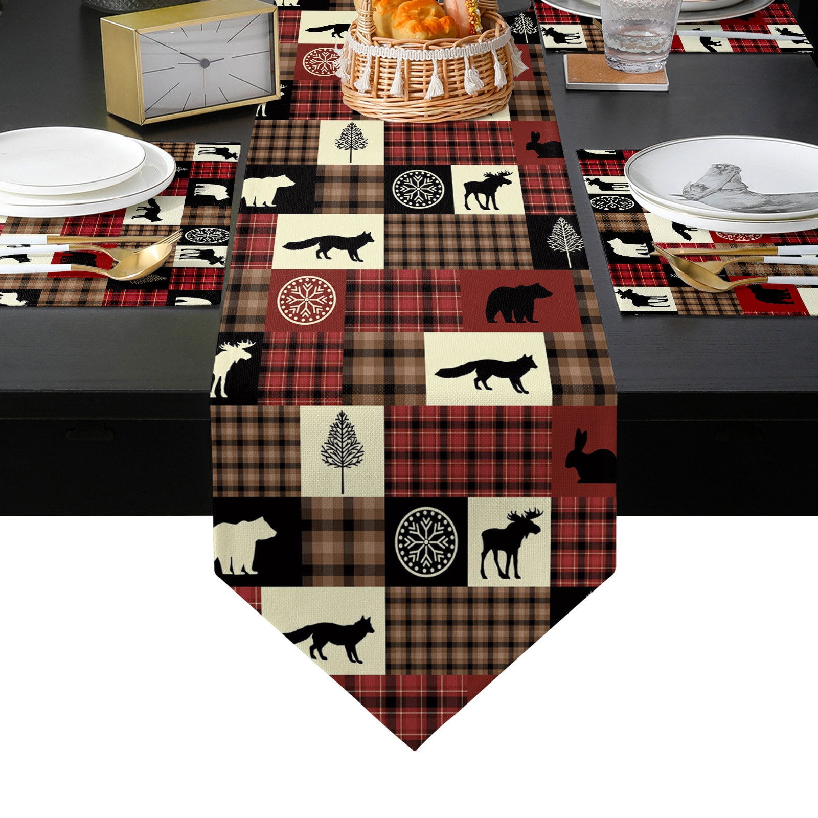الحيوان الثعلب الدب الأيائل شجرة الجاموس الأحمر منقوشة الجدول عداء مجموعة للمنزل المطبخ طاولة طعام حفل زفاف عطلة الديكور