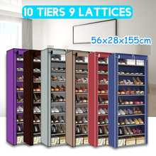 Zapatero de rejilla desmontable de 10 niveles, armario de zapatos no tejido a prueba de polvo, organizador de zapatos de pie para el hogar, ahorro de espacio