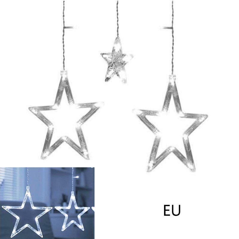 2,5 m estrellas 138 luces LED de cortina y ventana guirnalda de luces de hadas boda Navidad GXMA