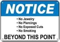notice no jewelrypiercingexposed cuts beyond this point label vinyl decal sticker kit osha safety label compliance signs 8