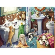 DIY 5d diament malarstwo cross stitch wanna dekoracja w kształcie psa diament haft Pet dog patten diament mozaika kąpiel pies