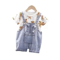 new summer baby girls clothes cute children boys cartoon t shirt strap shorts 2pcssets toddler fashion clothing kids tracksuits