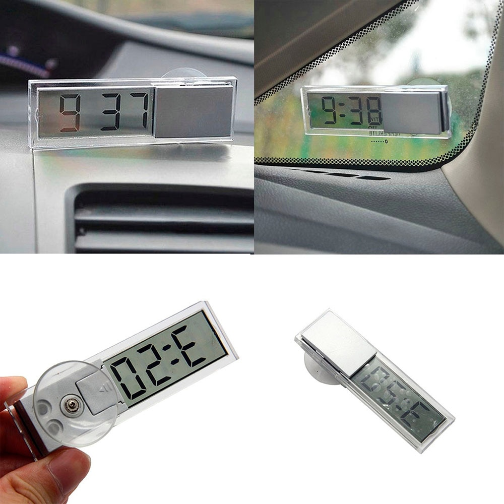 Прозрачные часы в салон автомобиля, автомобильные часы на присоске с ЖК дисплеем, электронные часы на лобовое стекло